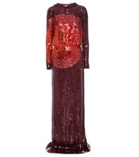 Tom Ford Sequin Embellished Silk Gown Red