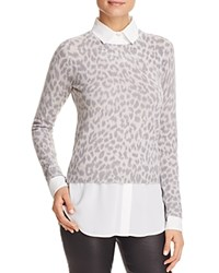 Bloomingdale's C By Leopard Layered Look Cashmere Sweater Animal