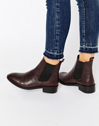 Asos Attribute Leather Chelsea Ankle Boots Oxblood Red