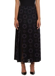 Fendi Floral Embroidered Pleat Skirt Black