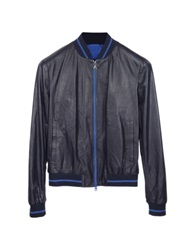 Forzieri Luxury Navy Blue Perforated Leather Men's Jacket