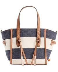 Tommy Hilfiger Emma Woven Ruby Canvas Mini Convertible Tote Navy Natural