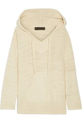 The Elder Statesman Baja Hooded Cashmere Sweater Ecru