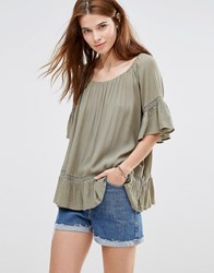 Qed London Boho Top With Peplum Hem Khaki Green