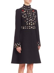 Alexander Mcqueen Embellished Wool Swing Back Coat Black