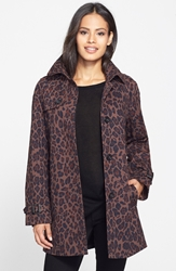 Animal Print Single Breasted A Line Coat Online Only Leopard