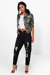 Boohoo High Waisted Distressed Boyfriend Jeans Black