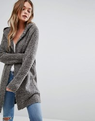 New Look Hooded Boucle Cardigan Grey
