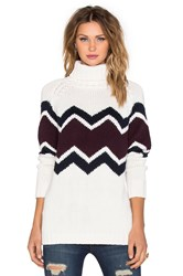 525 America Zig Zag Turtleneck Sweater Cream