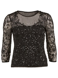Gina Bacconi Sequinned Mesh Top Black