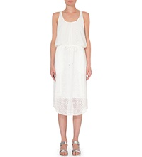 Karen Millen Scoop Neck Embroidered Dress White
