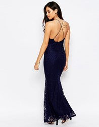 Jessica Wright Lilian Backless Lace Maxi Dress Navy