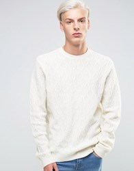 Asos Lambswool Rich Cable Jumper White