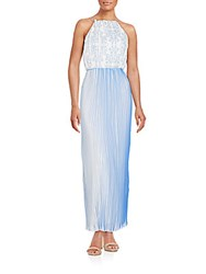 Kas Antoinette Pleated Halter Dress Blue