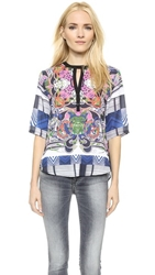 Clover Canyon Swirling Scarf Half Placket Top Multi