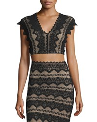 Nightcap Clothing Sierra Lace Crop Top Black Women's