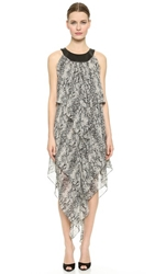 Tamara Mellon Chiffon Draped Dress Dark Gray Snake