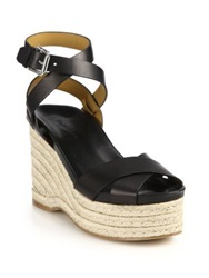Ralph Lauren Lois Espadrille Wedge Leather Sandals Black