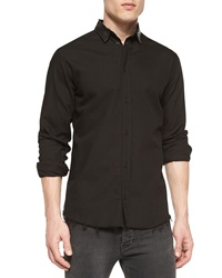 Iro Long Sleeve Shirt With Leather Collar Black