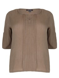 Samya Plus Size Top With Buttoned Detail Khaki