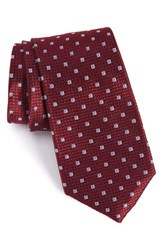 Calibrate Men's Geometric Silk Tie Burgundy