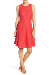 London Times Women's Lace And Knit Fit And Flare Dress Red