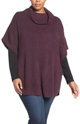 Sejour Plus Size Women's Cowl Neck Poncho Style Sweater Purple Night