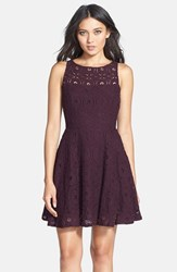 Women's Bb Dakota 'Renley' Lace Fit And Flare Dress Aubergine