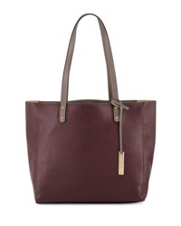 Neiman Marcus Textured Leather Organizer Tote Bag Wine Grey