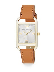 Saks Fifth Avenue Goldtone Square And Faux Leather Watch Tan