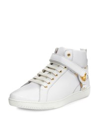 Versace Leather Harness Mid Top Sneaker With Gold Medallion White