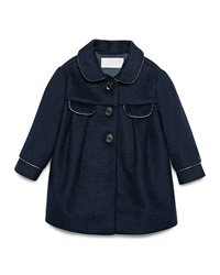 Gucci Contrast Trim Wool Blend Peacoat Navy Size 9 36 Months
