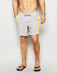 Asos Mid Length Swim Shorts In Grey With Colour Block Detail Grey