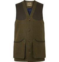 Musto Shooting Usto Checked Wool Blend Tweed Gilet Green