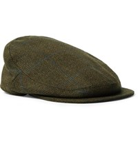 Musto Shooting Checked Wool Blend Tweed Flat Cap Dark Green