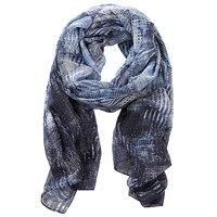 Betty Barclay Long Printed Scarf Blue Grey
