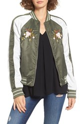 Glamorous Women's Embroidered Satin Bomber Jacket