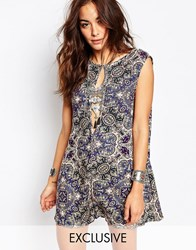 Milk It Vintage Romper With Deep V Back And Cut Out Front In Paisley Multi