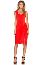 Heather Front Knot Dress Red