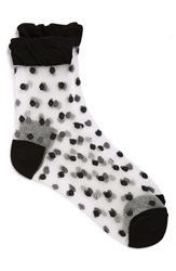Girly Sheer Polka Dot Ankle Sock Black