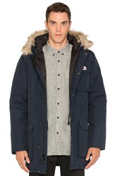 Penfield Lexington Faux Fur Trim Hooded Mountain Parka Blue