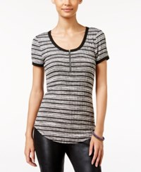 Almost Famous Juniors' Zip Front Henley Top Black Combo