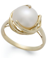 Macy's Cultured Freshwater Pearl Button Ring In 14K Gold 10Mm White