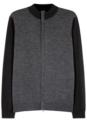 Armani Collezioni Grey And Charcoal Wool Cardigan