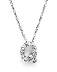 Roberto Coin 18K White Gold Initial Love Letter Pendant Necklace With Diamonds 16 Q