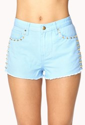 Forever 21 Studded Denim Cut Offs Light Blue