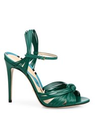 Gucci Allie Knotted Leather Ankle Strap Sandals Emerald Green
