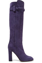 Valentino Braid Trimmed Suede Knee Boots Purple