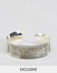 Reclaimed Vintage Engraved Bangle In Silver Silver