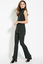 Forever 21 Contemporary Ribbed Knit Flared Pants Hunter Green